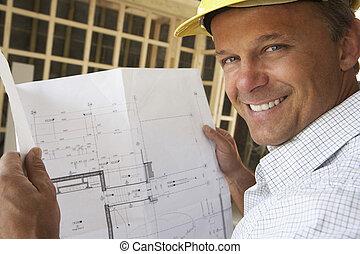 arkitekt, hos, planer, ind, nyt hjem