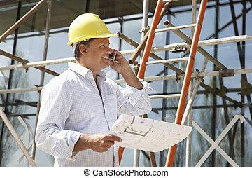 arkitekt, hos, planer, udenfor, nyt hjem, tales bevægelig telefon