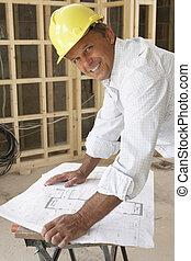 arkitekt, indstudering, planer, ind, nyt hjem