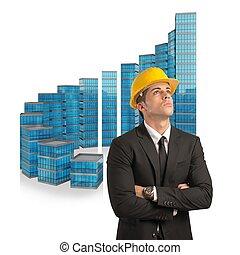 arkitekt, konstruktioner, held, stige