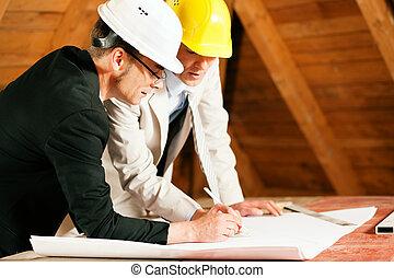 arkitekt, och, konstruktion, ingenjör