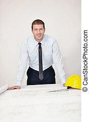 arkitekt, på, konstruktion sajt