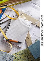 arkitekt, skrivebord, designeren, arbejdspladsen, spiral notesbog