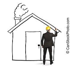 arkitekt, teckning, hem