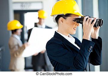 arkitekt, tittande vid, konstruktion sajt