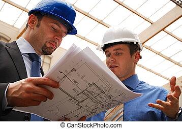 arkitekter, granska, blåkopia