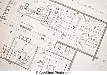arkitektonisk, plan, projec