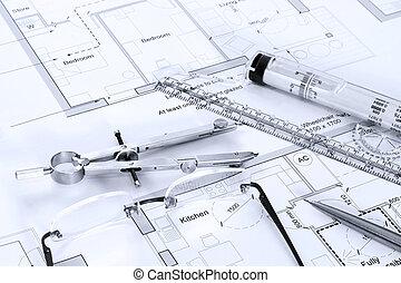 arkitektonisk, planer, med, teckning, utrustning