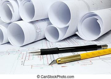 arkitektoniske, projekter, og, redskaberne