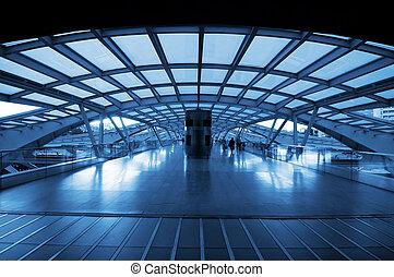 arkitektur, av, nymodig, öva station