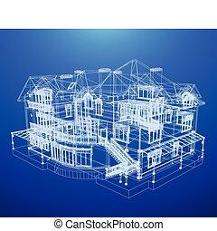 arkitektur, blåkopia, av, a, hus