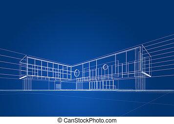 arkitektur, blåkopia