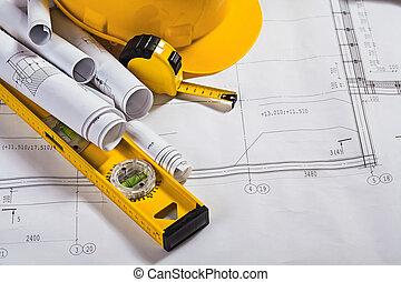arkitektur, blåkopior, och, arbete verktyg