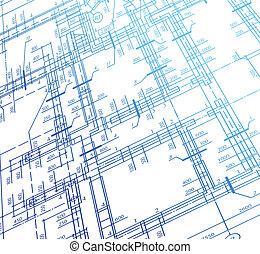 arkitektur, hus, plan, bakgrund., vektor