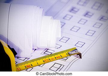 arkitektur, konstruktion, redskapen, planer, detaljerna