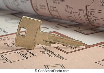 arkitektur, nyckel, plan