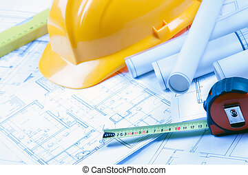 arkitektur, redskaberne, på, blueprints
