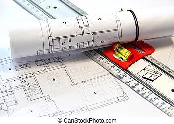 arkitektur, tabellen, og, redskaberne