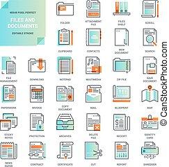 arkivera, lägenhet fodra, dokument, ikonen