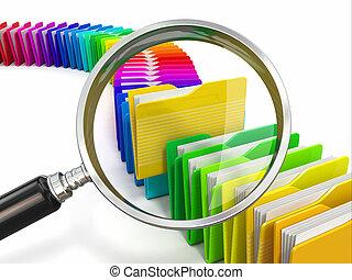 arkivera, mappar, loupe, search., bakgrund., vit