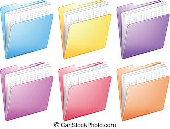 arkivera, mappar, medicinsk, sköta, färgrik