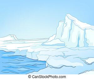 arktisch, karikatur, landschaftsbild, natur