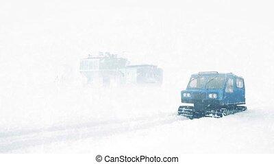 arktisch, lauge, mit, mann, und, snowcat