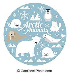 arktisch, tiere, etikett