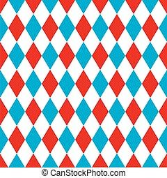 arlequim, blue., padrão, seamless, fundo, vermelho