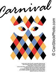arlequin, carnaval, espace négatif, modèle, affiche, conception géométrique, masque