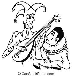 Pierrot, arlequin. Arlequin, griffonnage, illustration,... clipart ...