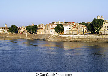 Arles (Provence, France) - View of the old houses from the bridge