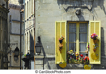 Arles (Bouches-du-Rhone, Provence-Alpes-Cote d'Azur, France) - Old typical buildings near the Roman Arena. Window with yellow shutters and flowers