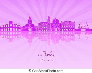 Arles skyline in purple radiant orchid