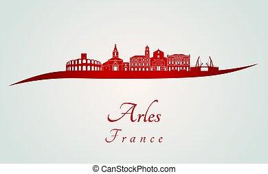 Arles skyline in red