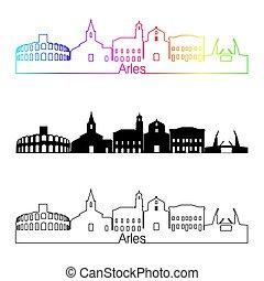 Arles skyline linear style with rainbow