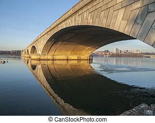 Arlington Bridge and Potomac River - Dawn light on the...