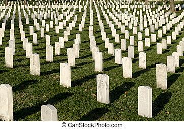 Arlington Cemetary - White marble tombstones at Arlington...