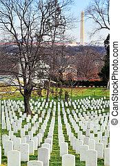 Arlington Cemetery - Arlington cemetery at sunset with...