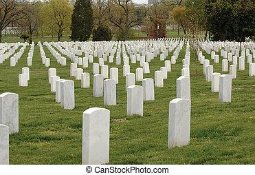 Arlington Cemetery - Field of headstones at Arlington...