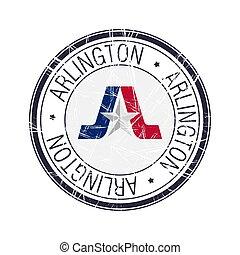 arlington, città, francobollo, texas, vettore