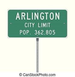 Arlington City Limit road sign