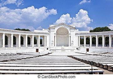 arlington, emlékmű, temető, nemzeti, amfiteátrum