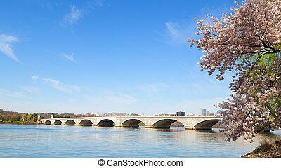 Arlington Memorial Bridge during cherry blossom festival in Washington DC. The bridge over Potomac River in the US capital.