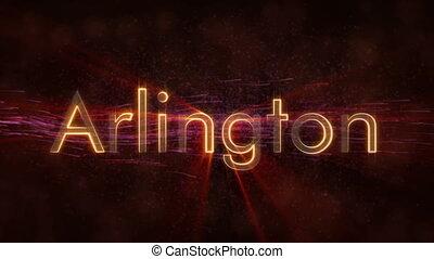 Arlington - Shiny looping city name text animation -...