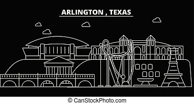 Arlington silhouette skyline. USA - Arlington vector city, american linear architecture, buildings. Arlington travel illustration, outline landmarks. USA flat icon, american line banner