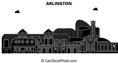 Arlington, United States, vector skyline, travel illustration, landmarks, sights.
