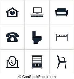 armário, banheiro, jogo, furnishings, escritório, simples,...