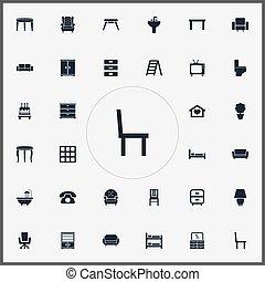 armário, disco, jogo, simples, cama beliche, icons., outro,...