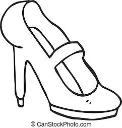 armé, élevé, chaussure noire, blanc, dessin animé